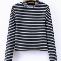 Stripe Turtleneck Long Sleeve