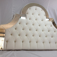 Queen Custom Upholstered Headboard with Mirrors - Morning Sun