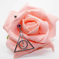 Belly button ring,Deathly Hallows belly ring,Deathly Hallows belly button jewelry