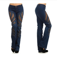Stretch Designer Jean With Rhinestones and Lace