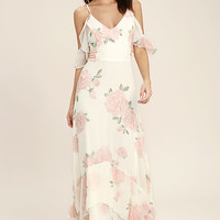 Take You There Ivory Floral Print Maxi Dress