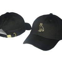 Gold Owl Embroidered Black Baseball cotton cap Hat
