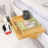 Bedside Table Caddy, Bamboo Nightstand Bed Shelf, Bedside Organizer Tray for Bunkbed with Cup Holder & Cable Slots -Beebo Beabo