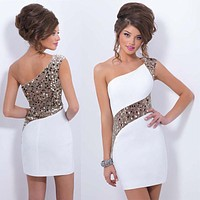 Hot Sale Sexy Women Sequined Bodycon One-Shoulder Cocktail Clubwear Party Mini Dress