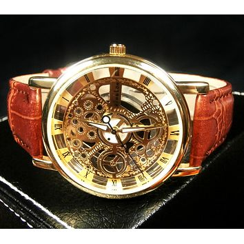 Genuine Leather Strap Automatic Mechanical Watch Men + Gift Box