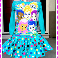 Custom Boutique RTS girls Bubble Guppies twirl party Dress size 2T 3T 4 5 long or short sleeve