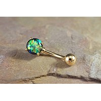 Opal Gold Belly Button Ring