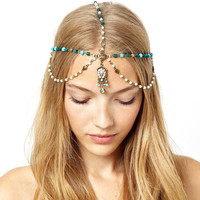 Pearl Tassel head chain Headband Jewelry Women Layered Hair Accessories 2015 Bohemia Vintage Headpiece Hair Band New