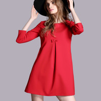 Bow Detail Dress in Red or Green