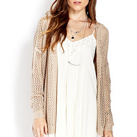 FOREVER 21 Easy Open-Knit Hooded Cardigan Cream Large