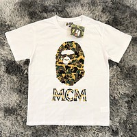 MCM & Bape Aape Summer New fashion letter camouflage print couple leisure top t-shirt White