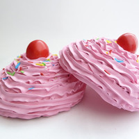 KATY PERRY BRA set of 2 oversize fake cupcakes, frosting, sprinkles, and cherry great for katy perry costume very easy to attach to bra
