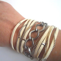 5X Wrap Bracelet with Off-White Suede cord, nickel brass Ball Chain and Twisted Rhombus nickel Chain