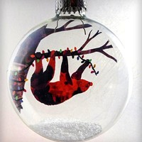 Glass Lil' Sloth Holiday Ornament