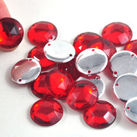 Faceted Round Acrylic Flat Back Sew Beads Available in Red Jewellery and Craft Supplies 1.6 cm diameter - quantity 20