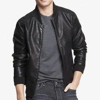 CRACKLED (MINUS THE) LEATHER BASEBALL JACKET from EXPRESS