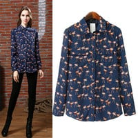 Flamingo Print Shirt Collar Long Sleeve Blouse