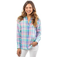 Madras Linen Hadley Popover in Prism Pink by Southern Tide
