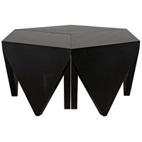 Janiya Puzzle Coffee Table, Hand Rubbed Black