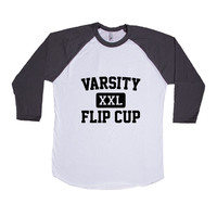 Varsity Flip Cup College University Frat Alcohol Drunk Drinking Partying Parties Party Wasted Fun SGAL6 Baseball Longsleeve Tee