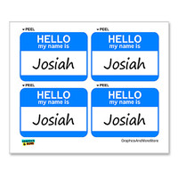 Josiah Hello My Name Is - Sheet of 4 Stickers