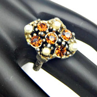 Rhinestone Cocktail Ring Brown Topaz and Pearls