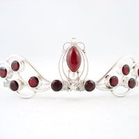 Crimson Sterling Silver Red Garnet Bridal Tiara by angelyques