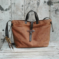 Waxed Canvas Tote Autumn Spice antique military by PegandAwl