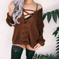 KIANA LACE UP OVERSIZED SWEATER (MOCHA) - FULLY STOCKED - PREORDER