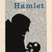 Hamlet by William Shakespeare Print on an antique page, book lover gift, book cover art, recycled book