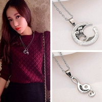 2 pcs  Stainless Steel Couple Matching Music Note Pendant Necklace = 1929809156