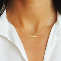 Hammered Horizontal Bar Necklace - Christine Elizabeth Jewelry