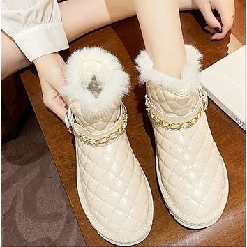 Women's new fashion thick bottom and velvet thick warm and comfortable cotton shoes