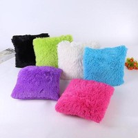 Solid Soft Plush Faux Fur Decorative Cushion Cover Throw Pillows