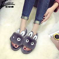 New Winter Home Slippers Indoor Home Plush Slippers Cute Shoes Pantoufles Female Floor Slippers Rubber Woman Sexy Shoes Platform