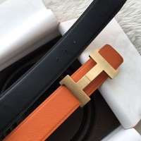 Mens HERMES Belt Leather Orange With gold Hermes Buckle 110CM