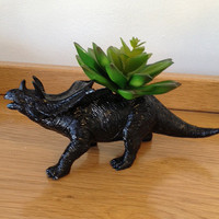 Up-cycled Black Triceratops Planter