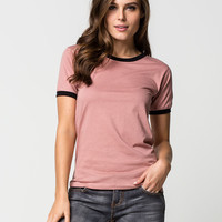 LIRA Solid Womens Ringer Tee | Knit Tops & Tees