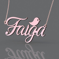 Monogram 1.25 inch rose gold plated necklace with name --fashion name monogram necklace