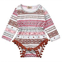 born Toddler Infant Baby Girl Long Sleeve Geometric Romper Tassel Jumpsuit Outfit Sun-suit Clothes