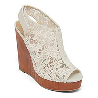 Lucky Brand Rezdah2 Crochet Wedge Sandals - Beige