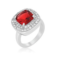Red Bridal Cocktail Ring, size : 08