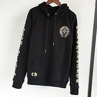 Chrome Hearts Fashion New pattern letter print couple sports leisure hooded long sleeve sweater Black