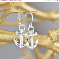 SALE Sterling Silver Anchor Earrings - Anchor Jewelry - Silver Anchor Dangle Earrings - Nautical Jewelry - Sterling Danlge Earrings