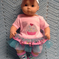 """AMERICAN GIRL Bitty Baby Clothes """"Cheery Cupcake"""" (15 inch) doll outfit  dress, leggings, booties socks, and headband blue and pink N7"""