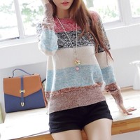 Mixed Color Stripes Sweater for Women