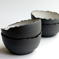 Ceramic Bowl in Black and White Set of 4 (made to order) - handmade pottery by RossLab minimal dinnerware rustic