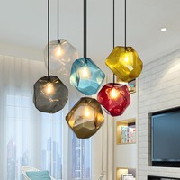 Simple Stone glass pendant light colorful indoor G4 LED lamp The restaurant dining room bar cafe shop lighting Fixture AC110-265