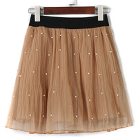 Brown Elastic Waist Faux Pearl Embellished Tulle Mini Skirt