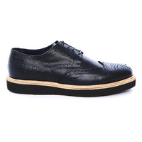 AI13 -  Midnight blue textured leather brogue with crepe sole